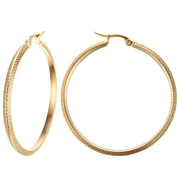Pair of Retro Alloy Big Circle EarringsJEWELRY<br><br>Color: GOLDEN; Earring Type: Hoop Earrings; Gender: For Women; Style: Trendy; Shape/Pattern: Round; Weight: 0.032kg; Package Contents: 1 x Earrings (Pair);