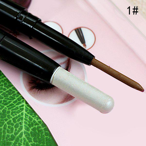 Affordable Stylish 3 Colours Double-End Brighten Shadow Highlight Eyeshadow pencil Silkworm Pencil