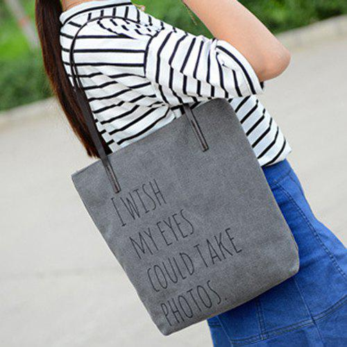Online Simple Letters and Canvas Design Shoulder Bag For Women
