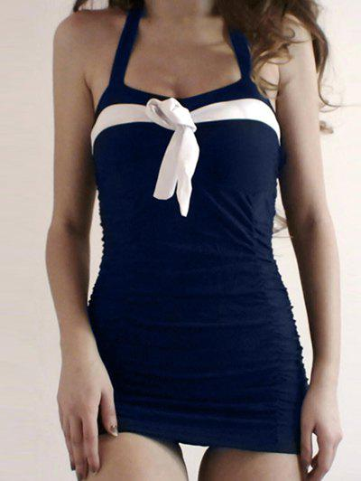 236f101c91 Discount Halter Bowknot Vintage One Piece Swimsuit