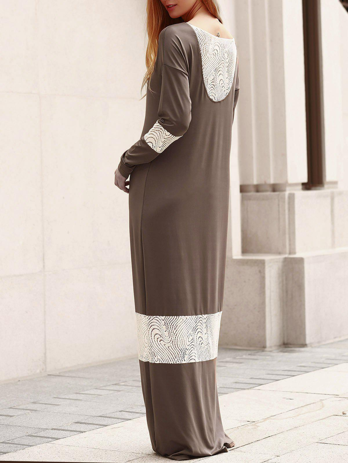 6391e13f6a44 Online Stylish Scoop Collar Long Sleeve Lace Splicing Loose-Fitting Dress  For Women