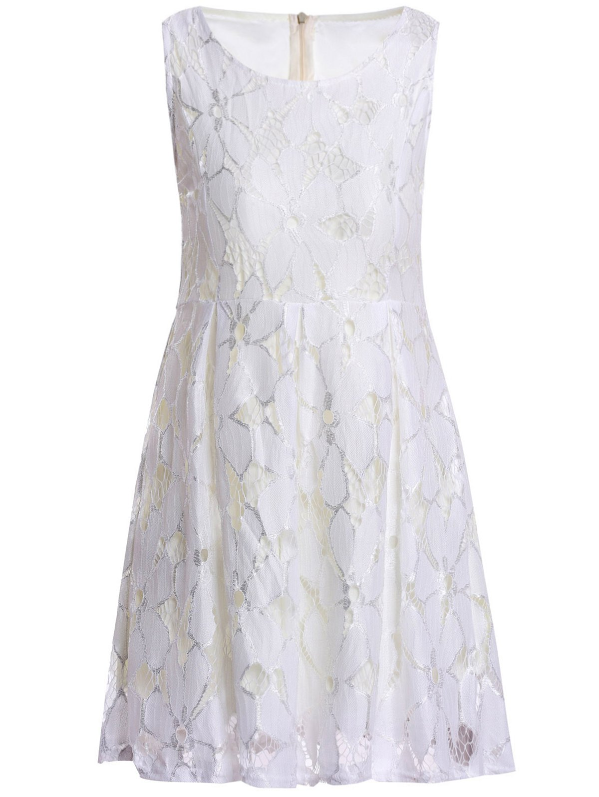 Store Jacquard Pleated Sleeveless Lace Dress