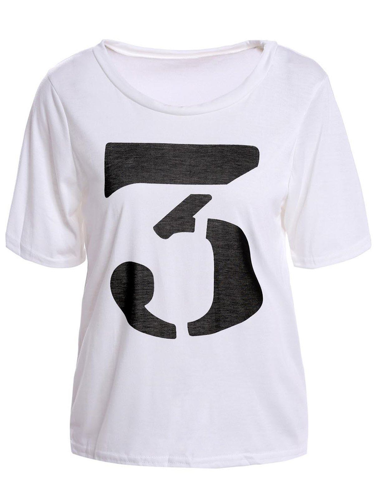 Cheap Color Block Retro Style Scoop Neck Figure Print Short Sleeve Women's T-Shirt