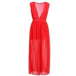 Fashionable Plunging Neck Ruffle Solid Color Sleeveless Maxi Dress For Women