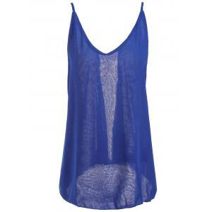 Fashionable Spaghetti Strap Solid Color Chiffon Backless Women's Tank Top