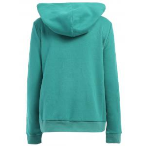 Casual Style Loose-Fitting Solid Color Long Sleeve Women's Hoodie - GREEN M