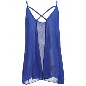 Fashionable Spaghetti Strap Solid Color Chiffon Backless Women's Tank Top -