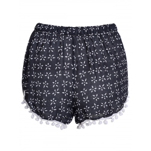 Stylish Elastic Waist Tiny Floral Print Irregular Hem Laciness Women's Shorts - CADETBLUE S