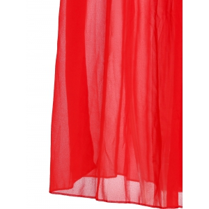 Fashionable Plunging Neck Ruffle Solid Color Sleeveless Maxi Dress For Women -
