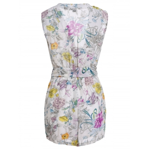 Stylish V Neck Sleeveless Flower Print Women's Romper - OFF-WHITE L