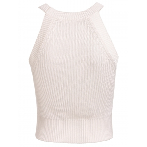 Stylish Jewel Neck Sleeveless Solid Color Knitted Women's Crop Top - WHITE M
