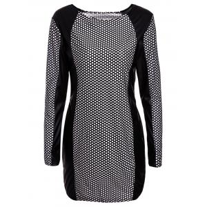 Long Sleeve PU Leather Splicing Printed Bodycon Dress - White And Black - L