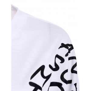 Letters Print Dolman Sleeve Graphic Top - WHITE