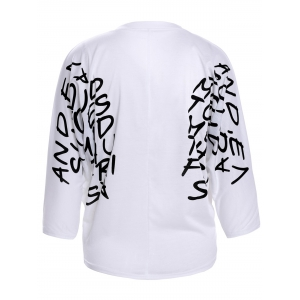 Letters Print Dolman Sleeve Graphic Top -