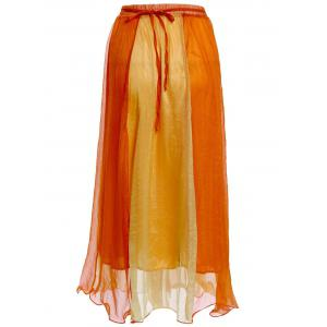 Color Block Flowy Long Skirt -