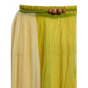 Color Block Flowy Long Skirt - GREEN ONE SIZE