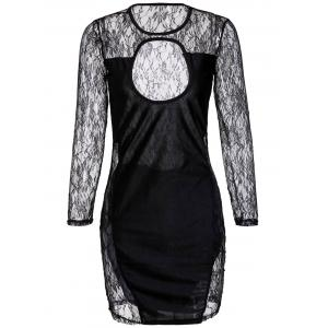 Sexy Scoop Collar Cut-Out Lace Long Sleeves Women's Bodycon Dress - Black - S
