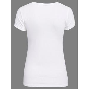 Sweet Candy Solid Color Chic Clipping Cotton Blend Women's T-Shirt -