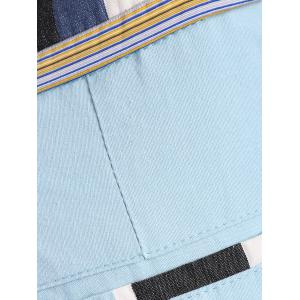 Classic Color Block Stripes Pattern Straight Leg Zipper Fly Shorts For Men - LIGHT BLUE XL