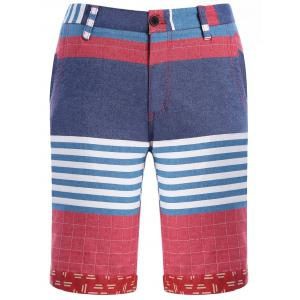 Color Block Stripes Plaid Pattern Straight Leg Zipper Fly Shorts For Men