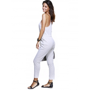Casual Spaghetti Strap Buttoned Women's Jumpsuit -