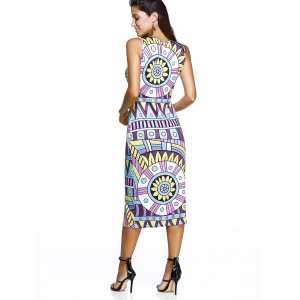 Sleeveless V-Neck Tribal Print Dress - COLORMIX S