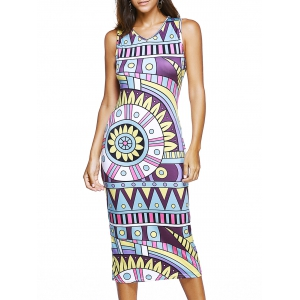 Sleeveless V-Neck Tribal Print Dress