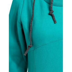 Long Sleeves Hooded Draw String Pockets Beam Waist Korean Style Casual Women's Hoodie - GREEN S