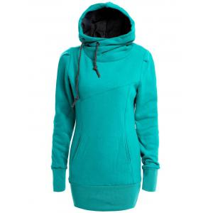 Long Sleeves Hooded Draw String Pockets Beam Waist Korean Style Casual Women's Hoodie - Green - S