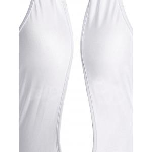 Sleeveless Criss-Cross Halter Plunge Backless Sexy Jumpsuit - WHITE S