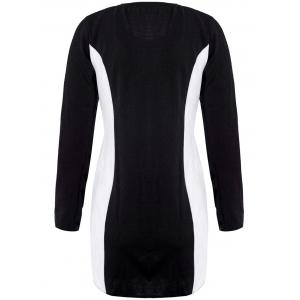 Casual Style Scoop Neck Long Sleeves Color Block Polyester Women's Dress - BLACK M
