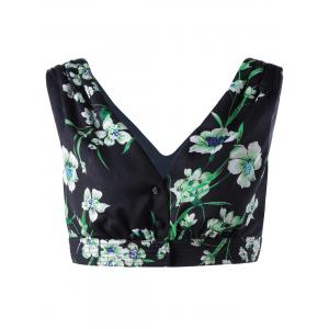 Stylish Women's V Neck Floral Crop Top
