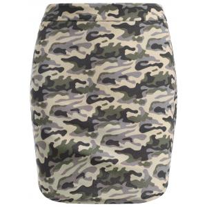 Fashionable High-Waisted Camo Print Skinny Women's Skirt