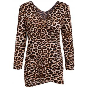 Low-Cut V-Neck Leopard Print Mini Long Sleeves Alluring Women's Bodycon Dress - Leopard - M