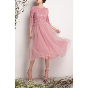 Embroidered Voile Spliced Solid Color Dress -