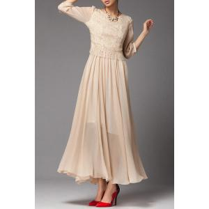 Fitting Solid Color Lace Spliced Dress - NUDE L