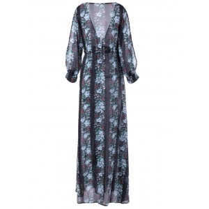 V-Neck Chiffon Printing Maxi Dress with Sleeves - COLORMIX L