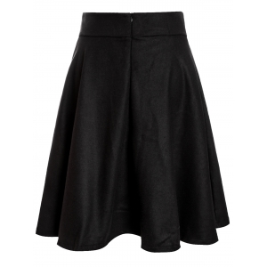 Woolen Midi High Waist Skirt - BLACK S