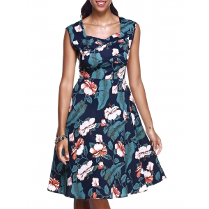 Vintage Sweetheart Neck Floral Print Midi Dress For Women