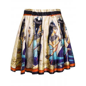 Retro Style High-Waisted Printed Skirt For Women -