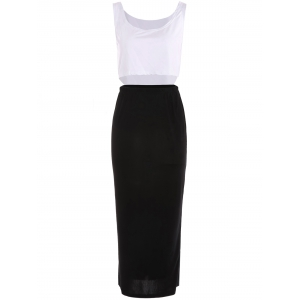 Stylish U Neck Bodycon Suit For Women - White And Black - S