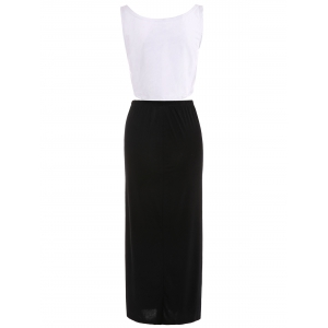 Stylish U Neck Bodycon Suit For Women - WHITE AND BLACK S