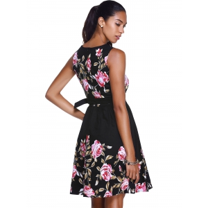 Floral High Waisted Swing Short Prom Dress - BLACK L