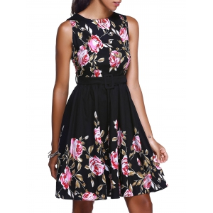Floral High Waisted Short Prom Dress