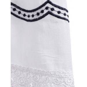 Ethnic Style Tie Neck Embroidery Batwing Sleeves Blouse For Women -