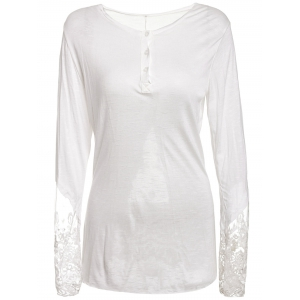 Stylish Scoop Collar Long Sleeve Solid Color See-Through Women's T-Shirt