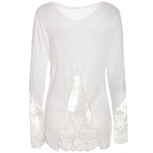 Stylish Scoop Collar Long Sleeve Solid Color See-Through Women's T-Shirt - WHITE XL