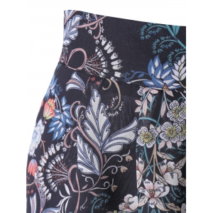 High Waisted Floral Knee Length Shorts - BLACK XL