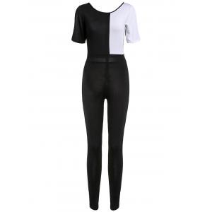 Chic Jewel Neck Color Block Short Sleeve Jumpsuit For Women