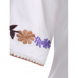 Ethnic Style Embroidery V Neck 3/4 Sleeve Blouse For Women -